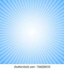 Abstract dynamic sun rays background - blue comic vector illustration from radial stripes