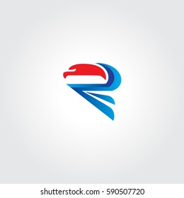 Abstract Eagle Letter R Logo