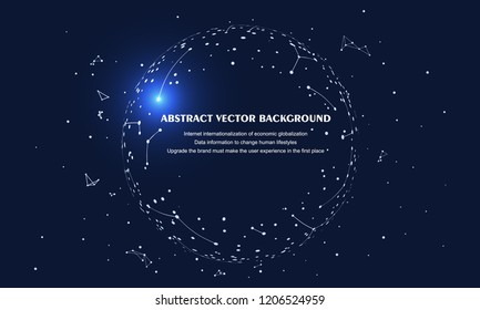 Abstract Earth composed of dots and lines, meaning globalization, internationalization, internet and big data, artificial intelligence