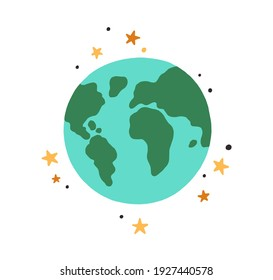 Abstract Earth globe with continents and oceans. Icon of world or planet drawn in doodle style. Colored flat vector illustration isolated on white background