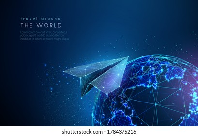 Abstract earth globe with digital paper airplane. Low poly style design. Abstract geometric background. Wireframe light connection structure. Modern 3d graphic concept. Isolated vector illustration