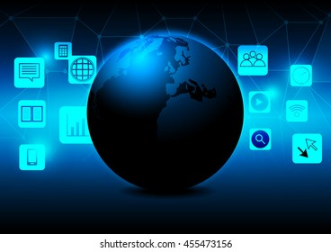 Abstract earth with mobile phone icon concept design Elements of this image furnished by NASA