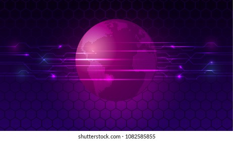 Abstract earth  on digital background. Illustration vector