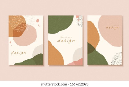 Abstract earth tone orange and green flyer template design with strokes effect
