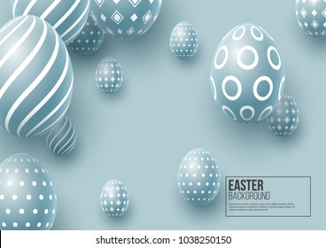 Abstract Easter blue background. Decorative 3d eggs. Vector illustration.