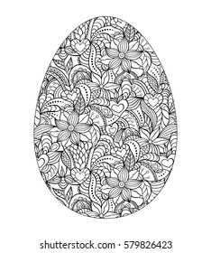 Abstract easter egg on white background. Coloring page for children and adult.Vector illustration.