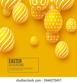 Abstract Easter yellow background. Decorative 3d eggs. Vector illustration.