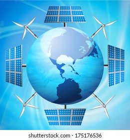 Abstract Eco concept with globe solar panel and windmills.