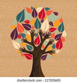 Abstract eco friendly diversity tree hands illustration. Vector file layered for easy manipulation and custom coloring.