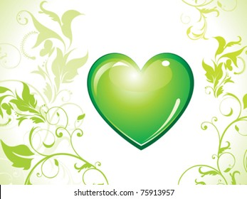 abstract eco green heart icon vector illustration