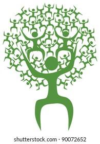 Abstract eco green tree man