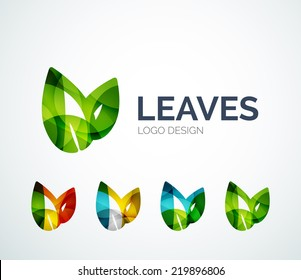 Abstract eco leaves logo design made of color pieces - various geometric shapes