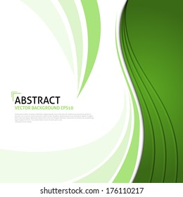 Abstract Ecology background. Corporate business template background. Green curve on white paper background with space for text background design, overlap layer concept