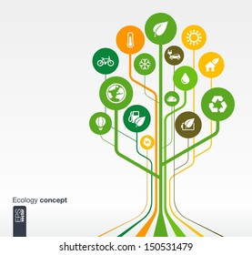 Abstract ecology background with lines, circles and icons. Growth tree concept with eco, earth, green, recycling, nature, bicycle, sun, car and home icon. Vector illustration.