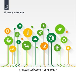 Abstract ecology background with lines, circles and flat icons. Growth concept contains eco, earth, green, recycling, nature, bicycle, sun, car and home icon. Vector illustration.