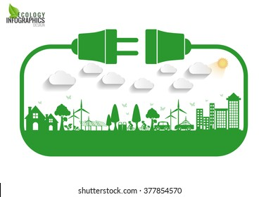 Abstract ecology connection electrical plug concept background . Vector infographic illustration