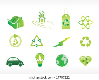 abstract ecology series icon set