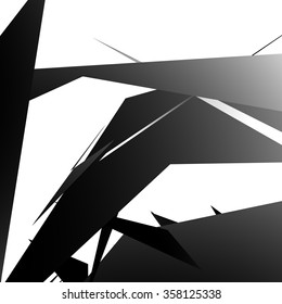 Abstract edgy, angled shapes texture. Monochrome futuristic background.