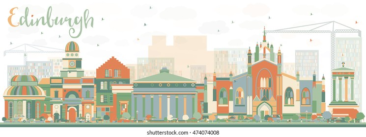 Abstract Edinburgh Skyline with Color Buildings. Vector Illustration. Business Travel and Tourism Concept with Historic Buildings. Image for Presentation Banner Placard and Web Site.