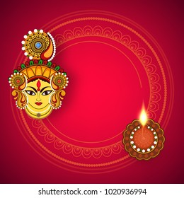 Abstract editable vector for Hindu festival Chaitra Navratri 2018 , used as greeting card , poster , banner and flyer with beautiful rangoli background and subh navratri text