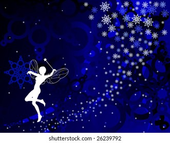 Abstract editable vector illustration of a fairy and snowflakes in blue
