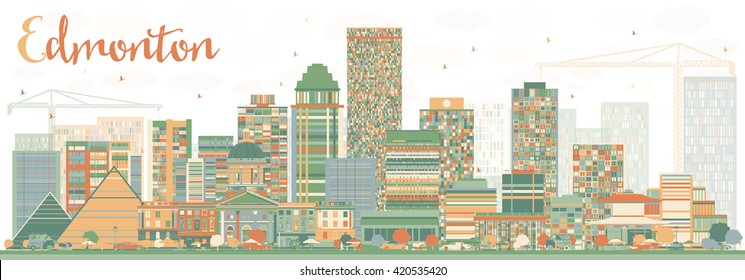 Abstract Edmonton Skyline with Color Buildings. Vector Illustration. Business Travel and Tourism Concept with Modern Buildings. Image for Presentation Banner Placard and Web Site.