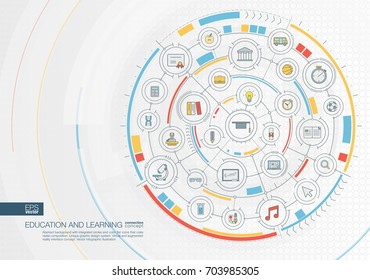 Abstract education and learning background. Digital connect system with integrated circles, color flat icons. Interface design. Elearning, graduation, school concept. Vector infographic illustration