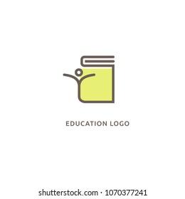 Abstract education logo icon vector design. College, school, university vector logo. Vector illustration, Graphic Design Editable Design. Man with a book web icon.