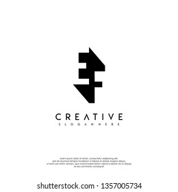 abstract EF logo letter in shadow design concept