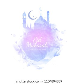 Abstract Eid Mubarak stylish watercolor vector background
