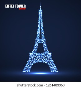 Abstract Eiffel Tower of glowing particles. Vector