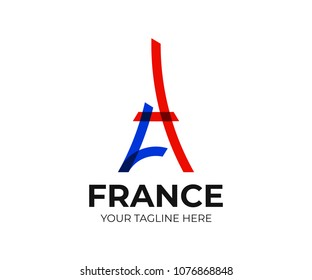 Abstract Eiffel Tower logo template. Line symbol of Paris vector design. Architecture of france logotype