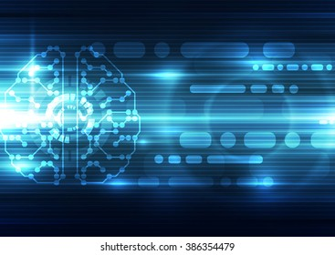 Abstract electric digital brain,technology concept