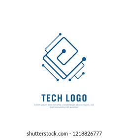 Abstract electronic tech circuit line technology futuristic letter E logo icon symbol illustration