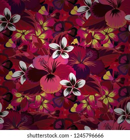 Abstract elegance seamless pattern with floral motifs in red, purple and brown colors. Decorative hibiscus flowers repeating pattern. Vector illustration.