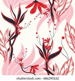 Abstract elegance seamless pattern with floral background for invitation card or fabric