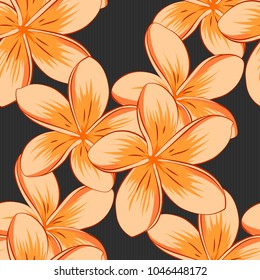 Abstract elegance vector seamless pattern with plumeria flowers in gray, beige and orange colors.