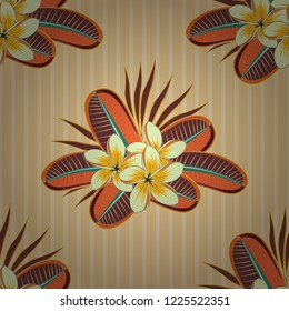 Abstract elegance vector seamless pattern with plumeria flowers in brown, orange and beige colors.