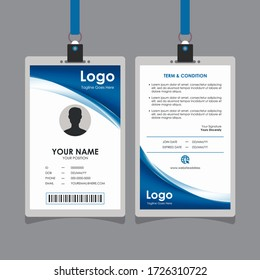Abstract Elegant Blue Curve Id Card Design, Professional Identity Card Template Vector for Employee and Others