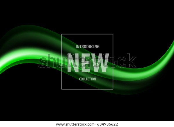 Abstract elegant business design template with green soft wavy lines in dynamic style on black background. Vector illustration