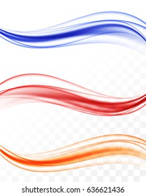 Abstract elegant colorful light waves set in dynamic soft smoky style on transparent background. Vector illustration