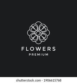 Abstract elegant flower logo icon vector design. Universal creative premium symbol. in black backround