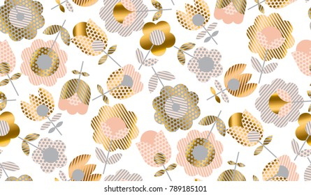 Abstract elegant geometric tulip floral seamless pattern for surface design. Spring blossom flowers in gold and pale rose color. Vector illustration.