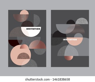 Abstract elegant gradient geometric cards template. Lux and business vibes laconic vector design element for card, header, invitation, poster, social media, post publication.