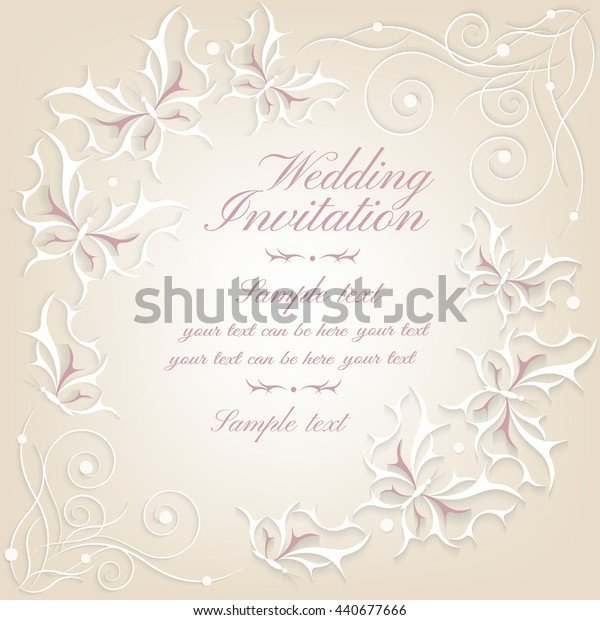 Abstract elegant invitation card. Greeting card with Victorian ornament and butterflies. Wedding, date, Valentine's Day, party, birthday beautiful postcard and invitation, booklets. Template cards.