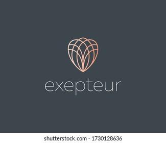 Abstract elegant line art flower crystal brilliant logo icon vector design. Universal creative premium symbol. Graceful jewel boutique vector sign.