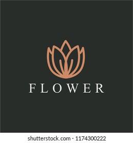 Abstract elegant luxury flower logo icon design