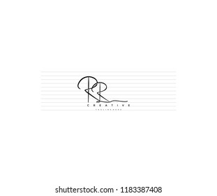 abstract elegant minimal handwriting signature letter RR logotype