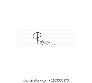 abstract elegant minimal handwriting signature letter Rm logotype