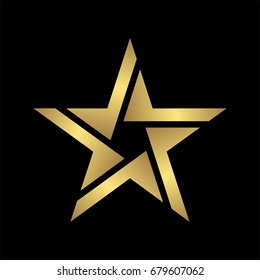abstract elegant and modern style gold star logo icon isolated in black